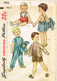 1950s Vintage Simplicity Sewing Pattern 1483 Baby Boy's Three Piece Suit Size 2