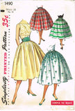 1950s Vintage Simplicity Sewing Pattern 1490 Easy Misses Skirt & Cummerbund 24W