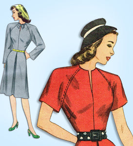 1940s Vintage Simplicity Sewing Pattern 1508 Uncut Raglan Sleeve Dress Sz 36 B