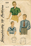 1930s Vintage Simplicity Sewing Pattern 1509 Little Boys Casual Shirt Set Size 8
