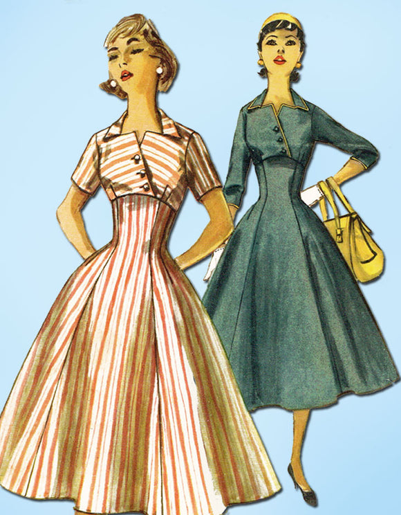 1950s Vintage Simplicity Sewing Pattern 1511 Uncut Misses Empire Dress Sz 13 31B
