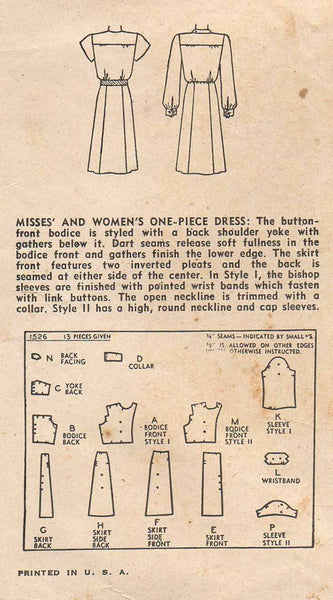 1940s Vintage Simplicity Sewing Pattern 1526 WWII Misses Shirtwaist Dress Sz 12