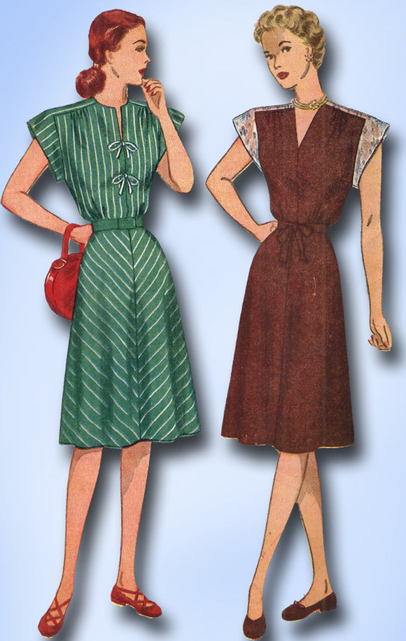 1940s Vintage Simplicity Sewing Pattern 1541 Misses Day Dress Size 12 30B