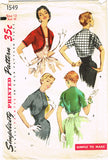 1950s Vintage Simplicity Sewing Pattern 1549 Easy Misses Bolero Jacket Size 12