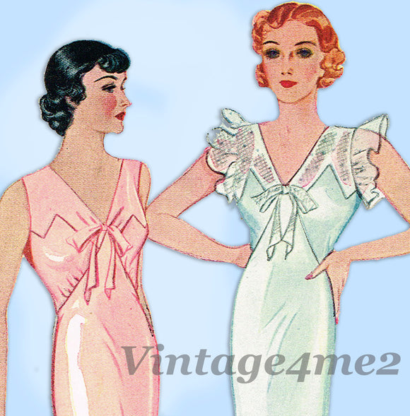 Simplicity 1554: 1930s Uncut Plus Size Bias Nightgown 42B Vintage Sewing Pattern - Vintage4me2