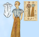 Simplicity 1565: 1930s Misses Skirt & Blouse Size 34 Bust Vintage Sewing Pattern