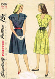 1940s Vintage Simplicity Sewing Pattern 1566 Misses WWII Day Dress Size 16 34B