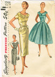1950s Vintage Simplicity Sewing Pattern 1566 Misses Cocktail Dress Size 14 32B