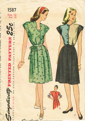 1940s Vintage Simplicity Sewing Pattern 1587 Misses WWII Colorblock Dress Sz 30B