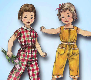 1950s Vintage Simplicity Sewing Pattern 1594 Toddler Girls Coveralls Size 1