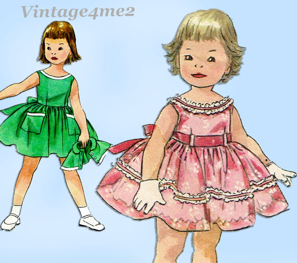 1950s Vintage Simplicity Sewing Pattern 1595 Toddler Girls Party Dress Sz 5