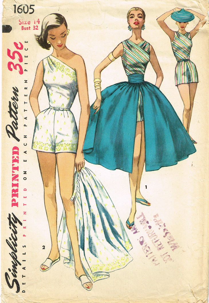 deb5777a7e5 ... 1950s Vintage Simplicity Sewing Pattern 1605 Sexy Off the Shoulder  Playsuit Sz 32 Bust -Vintage4me2 ...