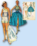 1950s Vintage Simplicity Sewing Pattern 1605 Sexy Off the Shoulder Playsuit Sz 32 Bust -Vintage4me2