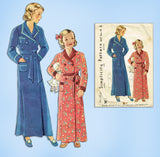 1930s Vintage Simplicity Sewing Pattern 1637 Cute Little Girls Bathrobe Size 12