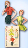1950s Vintage Simplicity Sewing Pattern 1642 Misses Set of Blouses Size 18 36 B