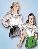 1940s Vintage Simplicity Sewing Pattern 1671 WWII Misses Embroidered Blouse Sz16