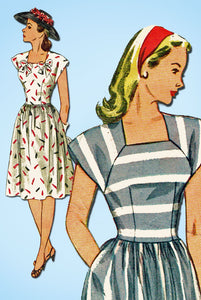 1940s Vintage Simplicity Sewing Pattern 1676 Easy Misses Summer Dress Sz 14 32B