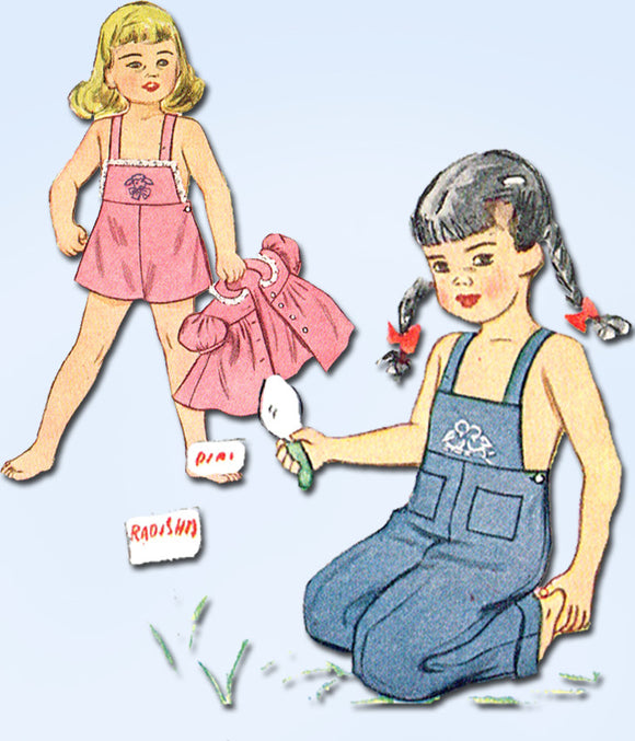 1940s Vintage Simplicity Sewing Pattern 1687 Toddler Girls Overalls & Smock Sz2