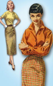 1950s Vintage Simplicity Sewing Pattern 1688 Complete  Misses Slender Wrap Skirt 24W