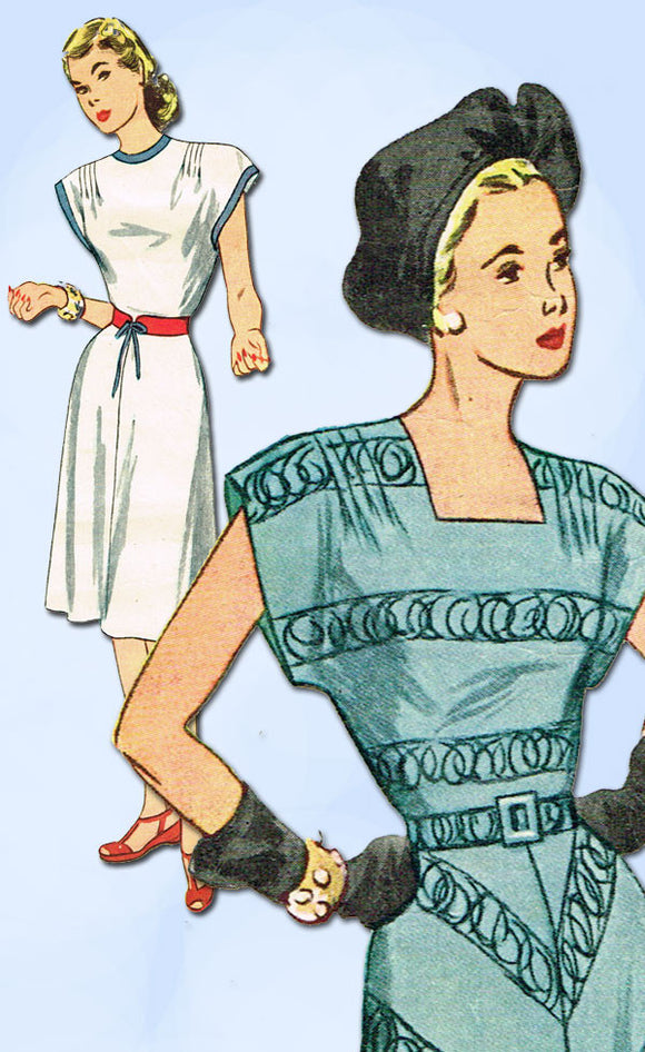 1940s Vintage Simplicity Sewing Pattern 1696 Uncut Misses Simple Dress Size 12