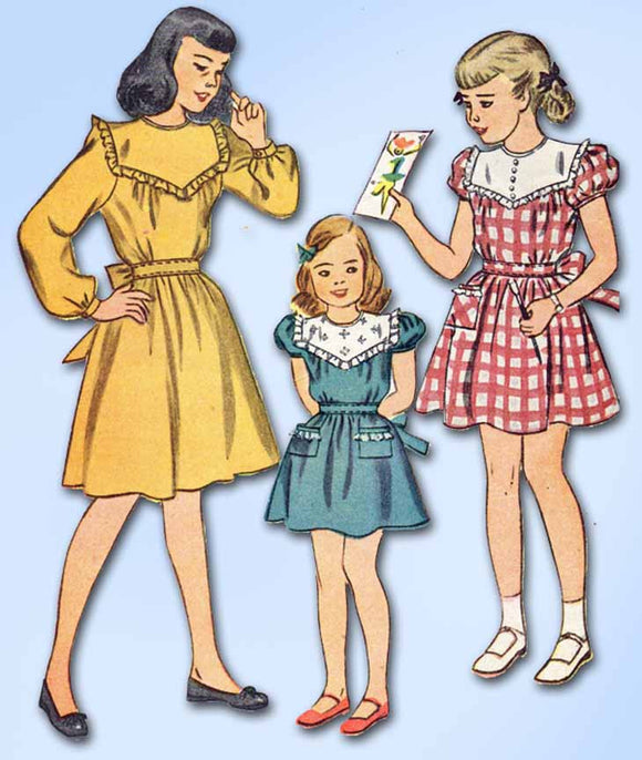 1940s Vintage Simplicity Sewing Pattern 1700 Easy Uncut Toddler Girls Dress Sz 6 -Vintage4me2