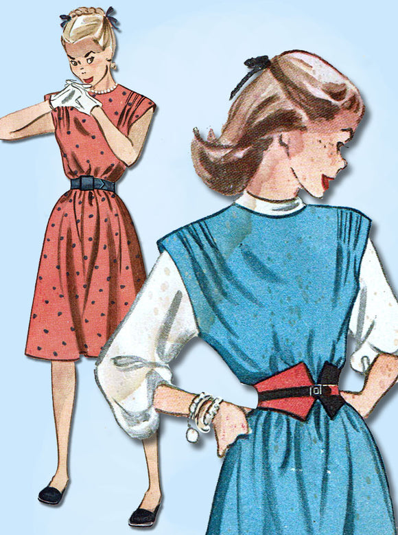 1940s Vintage Simplicity Sewing Pattern 1736 Easy Misses Dress or Jumper Sz 32 B