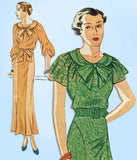 1930s Vintage Simplicity Sewing Pattern 1745 Misses Afternoon Dress Size 34 Bust