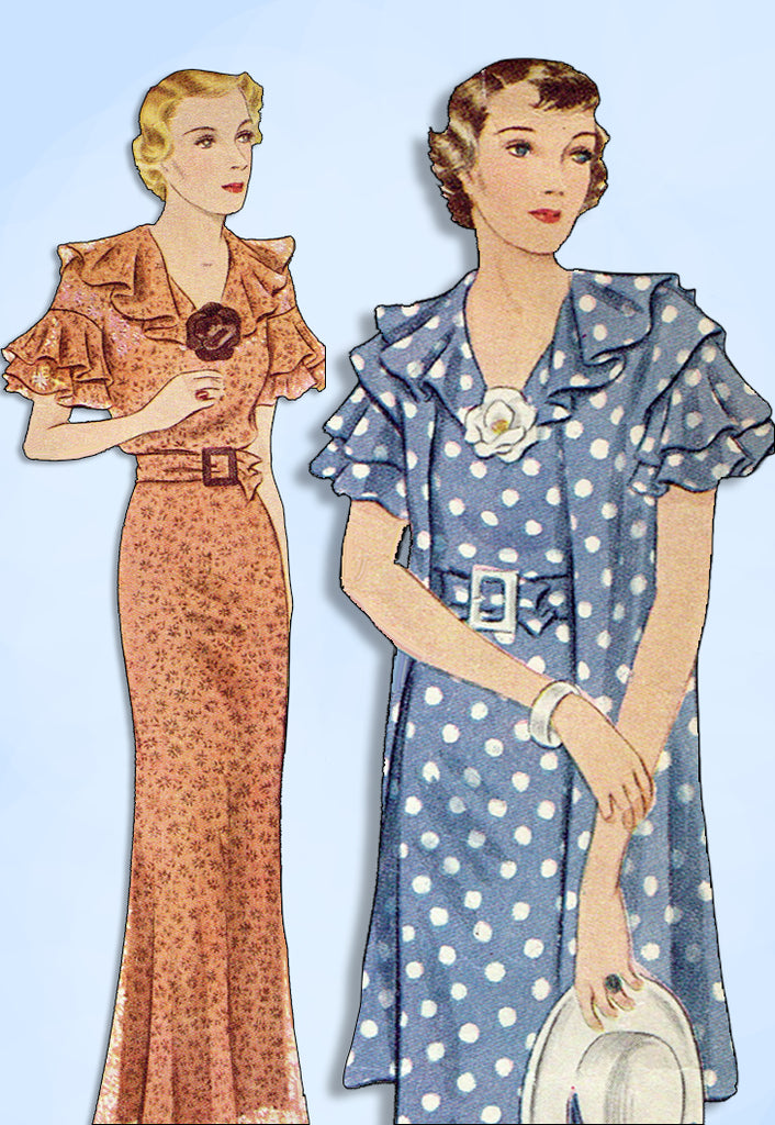1930s Original Vintage Simplicity Pattern 1778 Misses Tea Dress & Jacket Sz 38 B