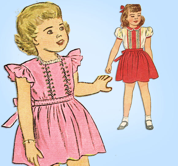 1940s Vintage Simplicity Sewing Pattern 1785 Uncut Toddler Girls Dress Size 6 - Vintage4me2