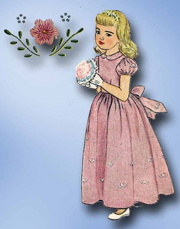 1940s Vintage Simplicity Sewing Pattern 1790 Toddler Girls Dress or Gown Size 3