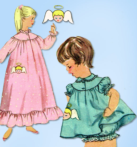 1950s Vintage Simplicity Sewing Pattern 1824 Toddler Girls Angel Nightgown Sz 2