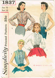 1950s Vintage Simplicity Sewing Pattern 1837 Misses Tucked Blouse Size 12 32B