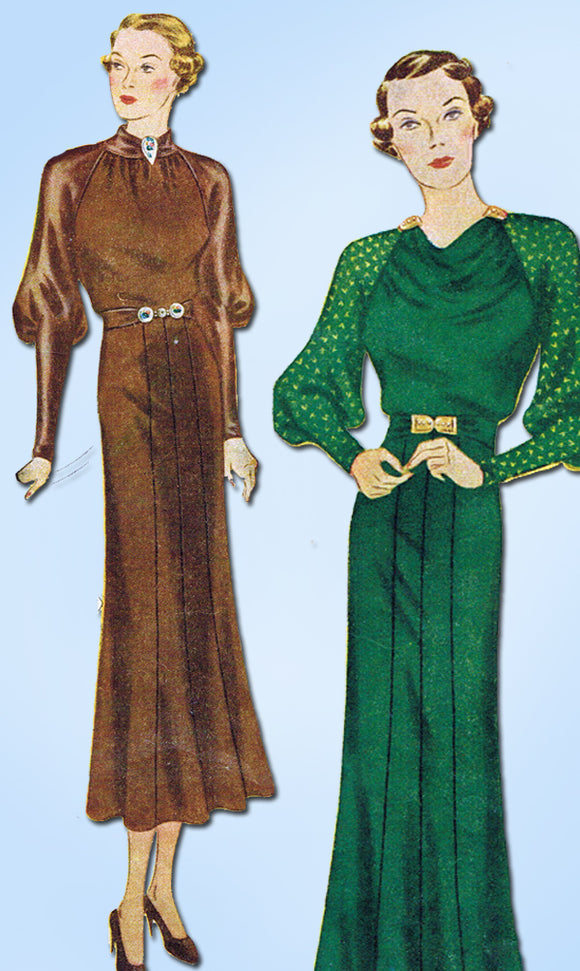 Simplicity 1850: 1930s Rare Misses Dinner Dress Sz 38 B Vintage Sewing Pattern