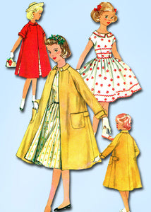 1950s Vintage Simplicity Sewing Pattern 1934 Girls Party Dress and Coat Size 8