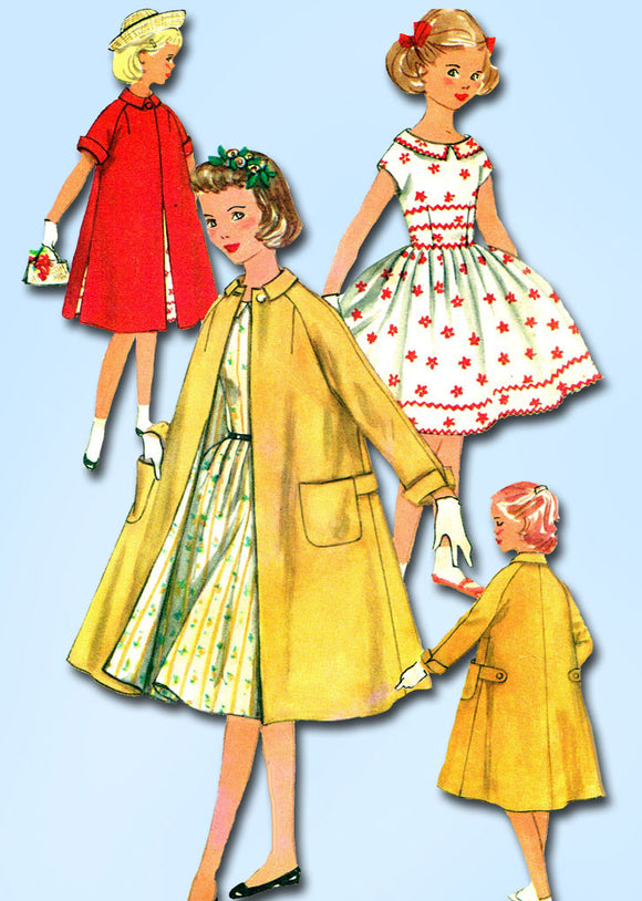 1950s Vintage Simplicity Sewing Pattern 1934 Little Girls Dress and Coat Size 7