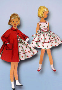 1950s Vintage Simplicity Sewing Pattern 1936 Simple Girls Dress & Coat Size 4