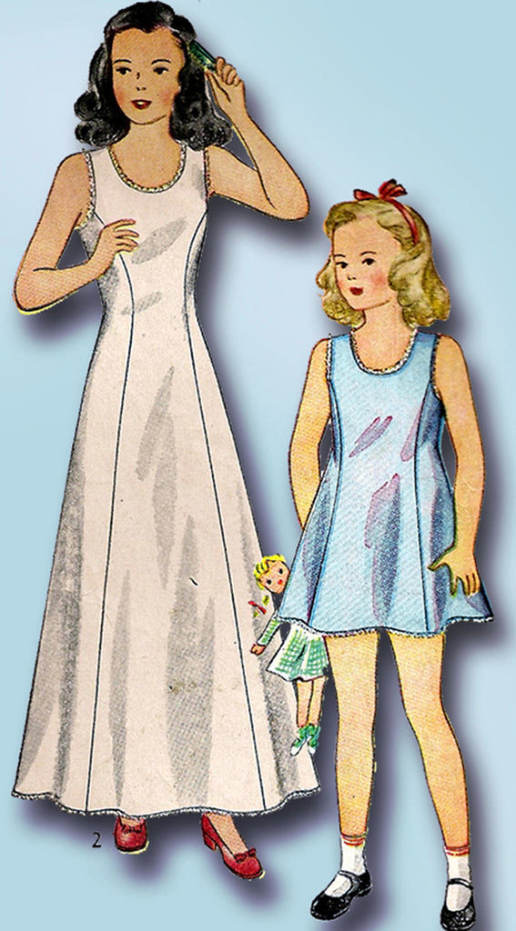 1940s Vintage Simplicity Sewing Pattern 1958 Easy Toddler Girls Princess Slip 4