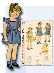 1940s Vintage Simplicity Pattern 1959 Baby Girls Pinafore Dress & Bonnet Size 2