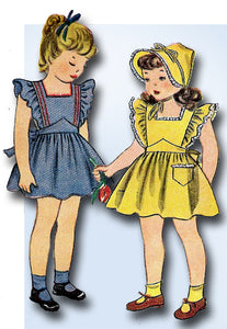 1940s Vintage Simplicity Pattern 1959 Uncut Toddler Girls Pinafore Dress Size 3