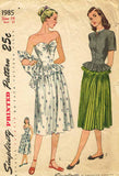 1940s Vintage Simplicity Sewing Pattern 1985 Misses Peplum Dress Size 14 32 Bust