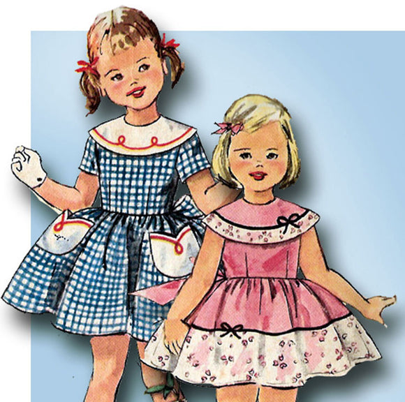 1950s Vintage Simplicity Sewing Pattern 2017 Cute Toddler Girls Sun Dress Size 3