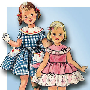 1950s Vintage Toddler Girls Sun Dress Simplicity Sewing Pattern 2017 Size 5