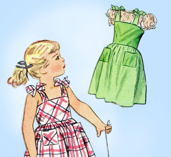 1940s Vintage Simplicity Sewing Pattern 2029 Easy Toddler Girls Sun Dress Size 6 - Vintage4me2