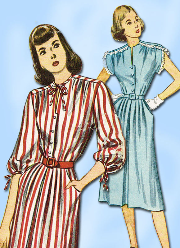 1940s Vintage Simplicity Sewing Pattern 2032 Misses Easy Day Dress Sz 32B