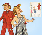 1940s Vintage Simplicity Sewing Pattern 2043 Toddler Girls Overalls & Jacket Sz6