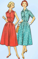 1950s Vintage Simplicity Sewing Pattern 2047 Uncut Misses Shirtwaist Dress 32B