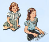 1940s Vintage Simplicity Sewing Pattern 2047 Sweet Toddler Girls Blouse Size 2 - Vintage4me2