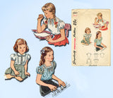 1940s Vintage Simplicity Sewing Pattern 2047 Sweet Toddler Girls Blouse Size 2