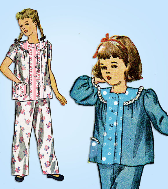 1940s Vintage Simplicity Sewing Pattern 2048 Toddler Girls 2 Piece Pajamas Sz 6 - Vintage4me2