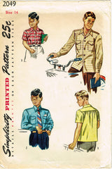 1940s Vintage Simplicity Sewing Pattern 2049 Classic Little Boys Shirt Size 14